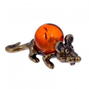 Сувенир из латуни и янтаря кошельковая мышь зубастик 1х2,3 см