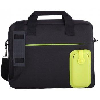 Сумка для ноутбука silicomp, черная с зеленым