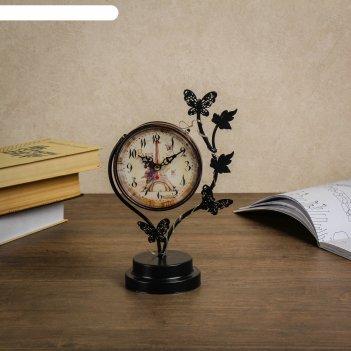Часы настольные бабочки, с маленькими фонариками, 17х9х25 см