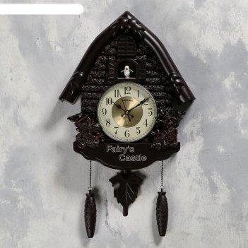 Часы настенные с кукушкой белочки, 4 шт 3ааа, плавный ход, 53х7х35 см, чёр
