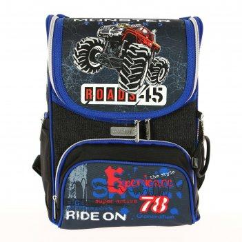 Ранец стандарт devente mini 35 х 26 х 20 см, 4x4 diesel, чёрный/синий