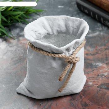 Кашпо бетонное мешочек серое, 15 х 12 х 15см