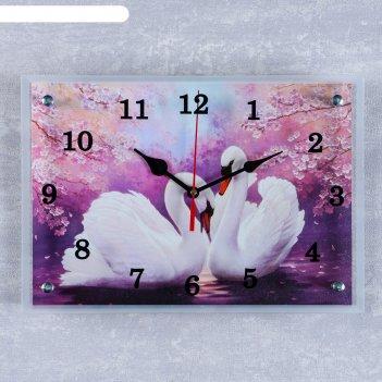Часы настенные, серия: животный мир, лебеди, 25 х35  см, микс
