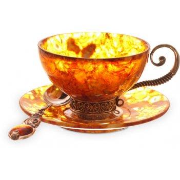 Чайный набор из янтаря антик на 6 персон