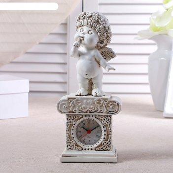 Часы настольные ангел, цвет белый,  h=25.5 см