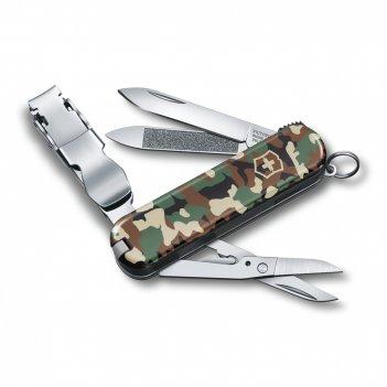Нож-брелок victorinox nailclip 580, 65 мм, 8 функций, зелёный камуфляж