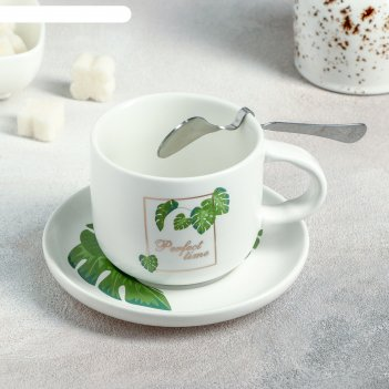 Набор чайный «ботаника», 3 предмета: чашка 220 мл, блюдце, ложка, цвет мик