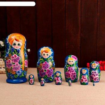 Матрёшка «русская краса», синее платье, 10 кукольная, 26 см
