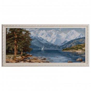 Гобеленовая картина 76х37 см парусник среди гор