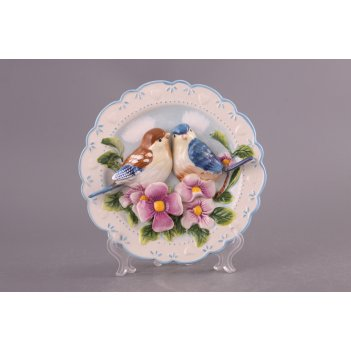 Тарелка настенная декоративная птицы на шиповнике диаметр=20 см высота=4 с
