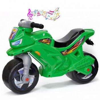 Ор501в3 каталка-мотоцикл беговел racer rz 1 с музыкой, цвет зеленый