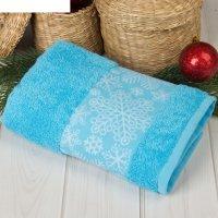 Полотенце махровое collorista снежинки голуб 50х90 см 100% хлопок, 370гр/м