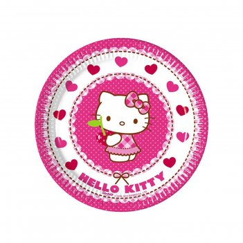 Тарелки хэллоу-китти  20 см (набор 8 шт) / hello kitty hearts