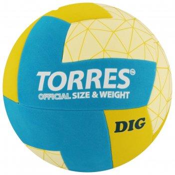 Мяч волейбольный torres dig, размер 5, синтетическая кожа (тпе), клееный,