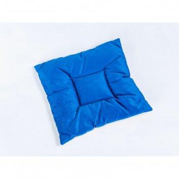 Подушка на стул квадратная 45х45см, высота 5см, велюр синий, серый, синтет