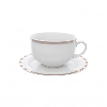 Набор чайных пар thun опал платиновые пластинки 280 мл(6 пар)