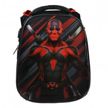 Рюкзак каркасный hatber ergonomic 37*29*17 мал супермен, чёрный/красный nr