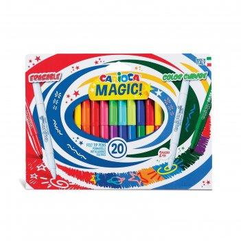 Фломастеры magic 18 цветов carioca, 20 штук, перекрашивающие и стирающие 6