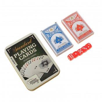 Карты игральные пластиковые poker range, 2 колоды по 54 шт, 5 кубиков, 25м