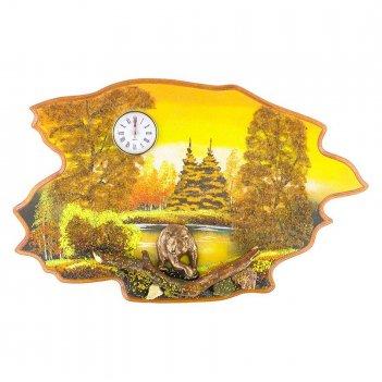 Часы с картиной медведь осень 50х32 см