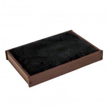 Настенная полка ямакаси классика, 40,1 х 27,8 х 6,3 см, тёмный орех