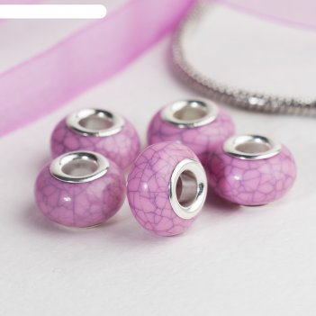Бусина текстура под магнезит, цвет розовый в серебре