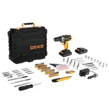 Дрель-шуруповерт deko dkcd20fu-li и набор инструментов deko, 20 в, 2 li-lo