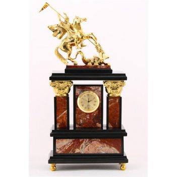 Часы георгий победоносец, камень яшма, долерит, бронзовое литье