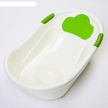 Ванночка с анатомической горкой и сливом, цвет белый/зеленый