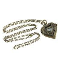 Карманные кварцевые часы «сердце», на цепочке 80 см