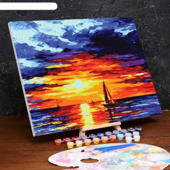 Картина по номерам на холсте с подрамником «закат» 40x50 см