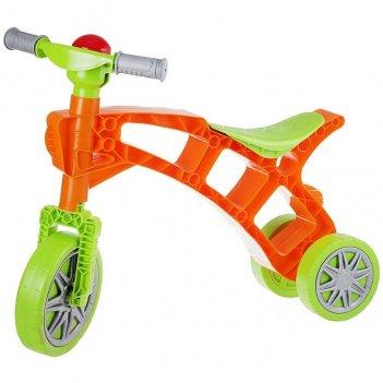 Т3220 каталка-беговел самоделкин 3 колеса с клаксоном зелено-оранжевая