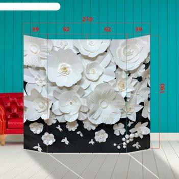 Ширма - фотозона бумажные цветы 210x190см