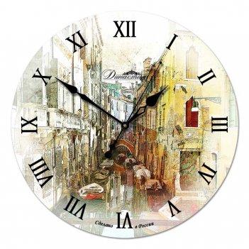 Настенные часы из дерева династия 02-003 улица в венеции
