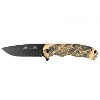 Нож складной stinger, 92 мм (чёрный), рукоять: пластик (камуфляж), картонн