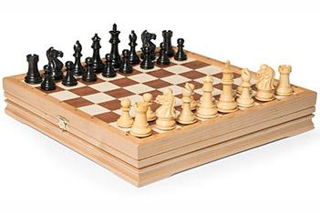 Шахматы малые, самшит, эбен, король 7см, утяжеленные, 32х32см