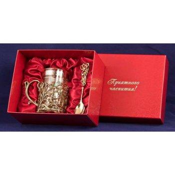 Набор для чая колокольчик (3пр.) (латунь, картон. футляр,ложка- мельхиор,