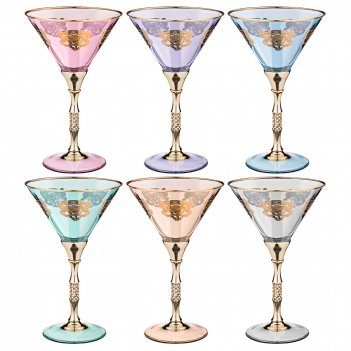 Набор бокалов для коктейлей из 6 шт. позитано микс 200 мл. высота=18,5 см.