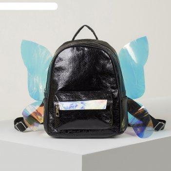 Рюкзак из эко кожи с крыльями, цвет черный