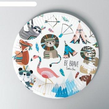 Тарелка бумажная индейцы набор 6 шт