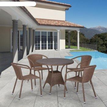 Комплект мебели из искусственного ротанга t197at/y137c-w56 light brown (4+
