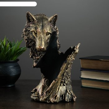 Подставка под бутылку волк бронза 14х17х26см