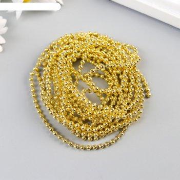 Бусины на нити zlatka пластик psb-02 3 мм 3 м, золото
