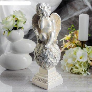 Статуэтка ангел на шаре большая, перламутровая