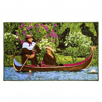 Ковёр велюровый «маша и медведь на лодке», зелёный 100х150 см, полиамид
