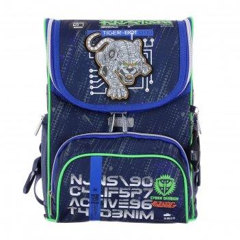 Ранец стандарт devente mini 35 х 26 х 20 см, cyber division, чёрный/синий