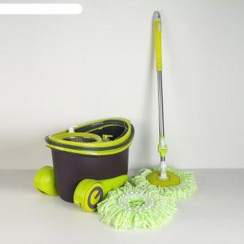 Набор для уборки: швабра, ведро с металлической центрифугой, дополнительна