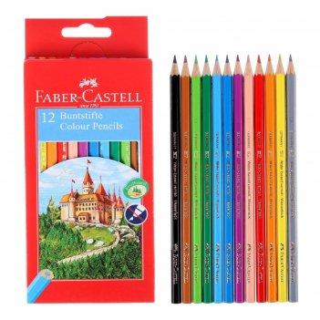 Карандаши 12 цветов faber-castell eco «замок» 1201 7/2.8 мм шестигранный к