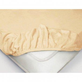 Простыня на резинке, размер 160x200 см, поплин, цвет бежевый