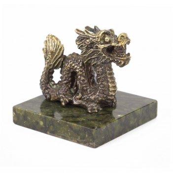 "Статуэтка ""дракон"" бронза змеевик 50х50х55 мм 150 гр."